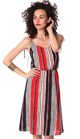 Q2 Red Stripe Midi Dress