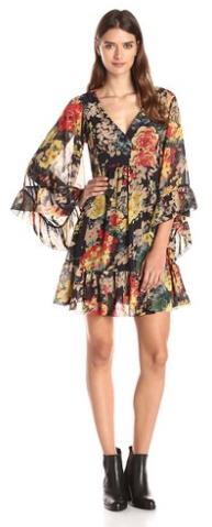 Betsey-Johnson-Women-Printed-Floral-Boho-Dress