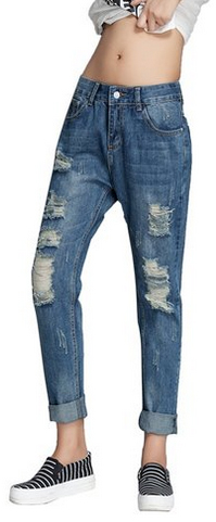 Chickle-Women-Ripped-Distressed-Roll-Cuff-Skinny-Jeans
