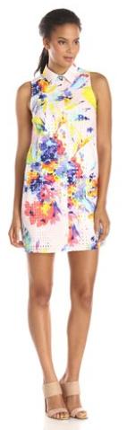 Trina-Turk-Women-Ryan Summer-Bouquet-Eyelet-Sleeveless-Shirtdress