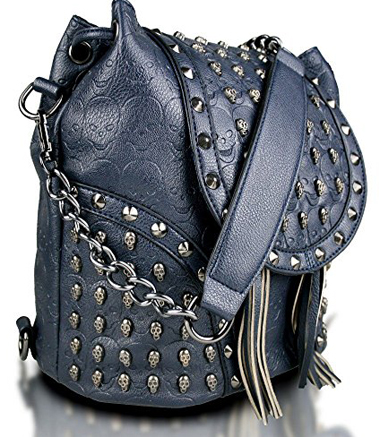 Miss Lulu Studded Embossed Skull Backpack - Shoulder Bag