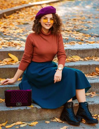 Woman Wearing A-Line Skirt