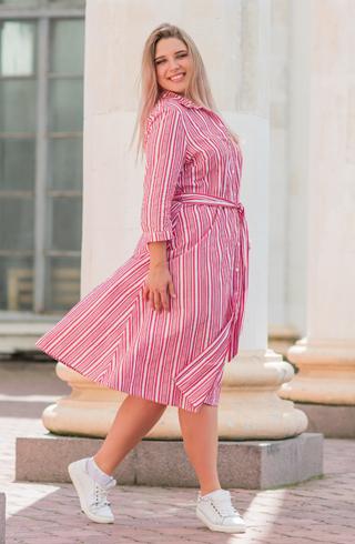 Woman Wearing Vertical Stripes Dress