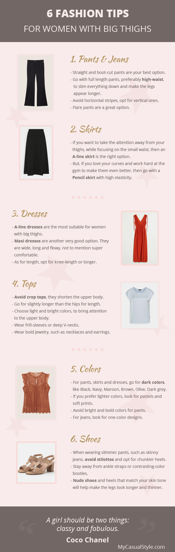 Fashion Tips For Women With Big Thighs - Infographic