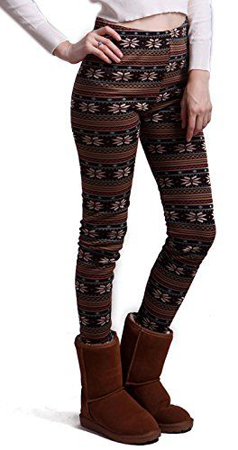 HDE Fleece Line Nordic Design Leggings