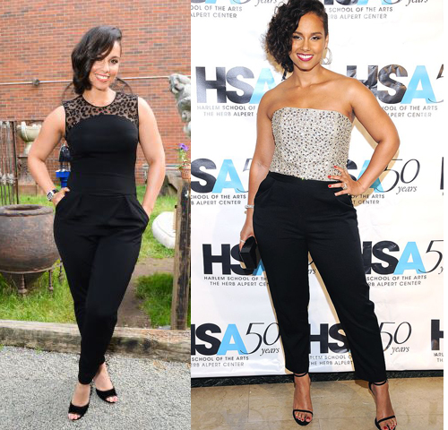 Alicia Keys In Curvy Fit Black Pants