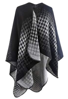 Hitop Winter Houndstooth Poncho