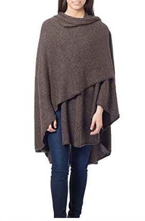"Novica Alpaca Wool Blend Wrap ""Brown Tweed"""