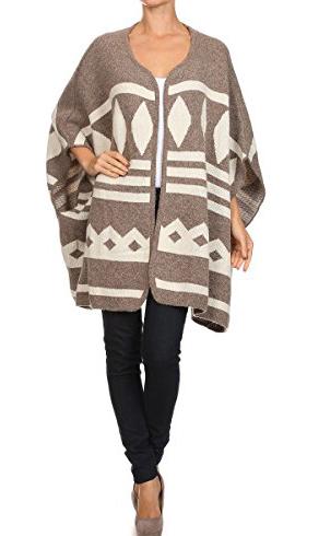 ReneeC. Winter Sweater Cardigan Poncho