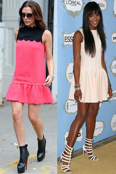Drop Waist Fit and Flare Dresses (Victoria Beckham and Naomi Campbell)