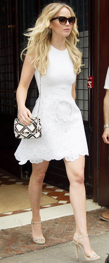 How To Style a Fit and Flare Dress (Jennifer Lawrence)