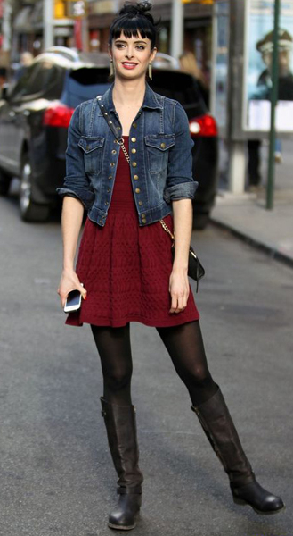 Fit and Flare dress with boots: Kristen Ritter