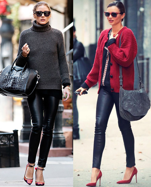 Olivia Palermo And Miranda Kerr: Faux Leather Leggings