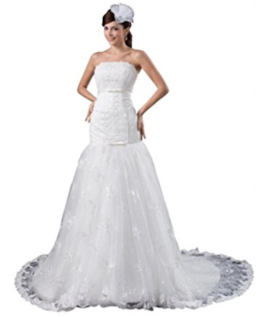 Orifashion Drop Waist Fit and Flare Wedding Dress