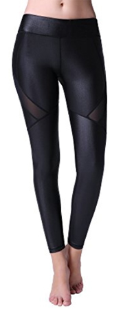 TOP-3 Leather Leggings with Mesh Panels in Black