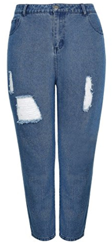 Yours Clothing Plus Size Distressed Mom Jeans