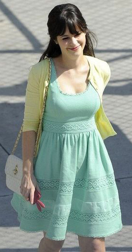 Fit and Flare dress with a cardigan: Zooey Deschanel