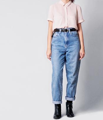 Woman Wearing Mom Jeans