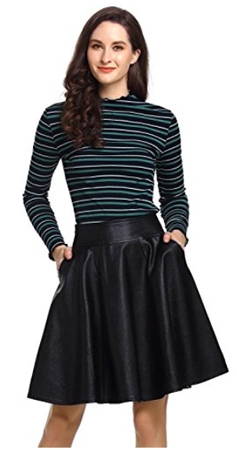 Beluring A-Line Faux Leather Skirt With Pockets