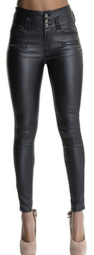 Ecupper Faux Black Leather Pants