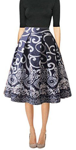 Hanlolo Midi Skirts High Waisted A-Line