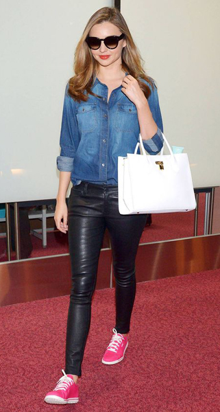 How to wear leather pants - Color (Miranda Kerr)