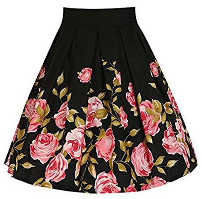 SheIn Print Vintage A-Line Pleated Midi Skirt