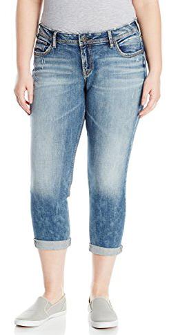 Silver Jeans Plus Size Sam Boyfriend Fit Mid-Rise Slim Jean