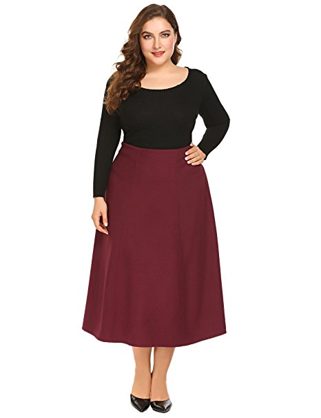 Zeagoo Plus Size Flared A-Line Skirt