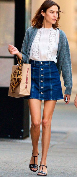 How to style denim skirts (Alexa Chung)