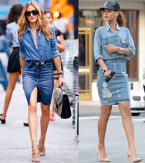 Are Denim (Jean) Skirts in Style in 2019? (Olivia Palermo and Rihanna)