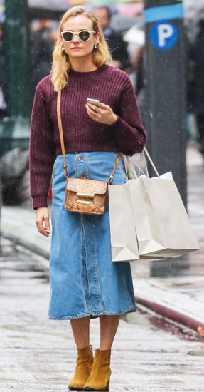 Are denim skirts still in style in 2019? (Diane Kruger)