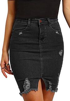 MakeMeChic Ripped Short Denim Skirt