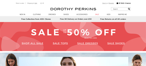Dorothy Perkins Website