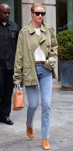Rosie Huntington-Whiteley with straight leg jeans