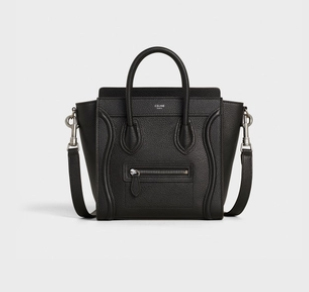 Celine Nano Luggage Bag in Drummed Calfskin Black