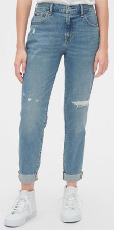 Gap Mid Rise & Repair Girlfriend Jeans