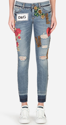 Dolce & Gabbana Denim Jeans With Patch Embellishment
