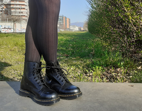 Woman Wearing Dr. Martens 1460 Boots